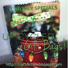 Up-cycled Gift Bags from old Scentsy Warmer/Scent of the Month fliers