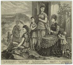 Der Bazar June 15, 1874    Beach and bathing wear for women and children - and all those stripes!
