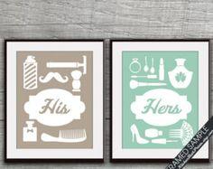 Suo e suo bagno stampe (serie B) - Set di 2 - stampe d'arte (Featured in tartufo marrone e Seafoam) personalizzabili bagno stampe