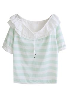 Light Green Stripe Print Drawstring Front Frill Detail Blouse | Choies