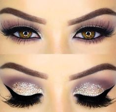 Sparkle eyeshadow, winged liner, and false lashes. Beautiful brows and eyelids.