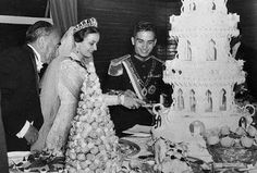 King Hussein of Jordan and Sharifa Dina bint Abdul-Hamid April 18, 1955