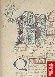 Detail of decorated initial.   Origin:Germany, S. (Burgerroth?) - Petrus de Braco, Compendium juris canonici; between 1427 and 1429