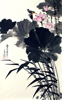 (North Korea) Lotus by Kim Min (1965-  )