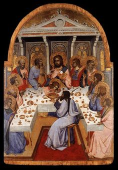 GADDI, Agnolo (active in Florence) Click! The Last Supper c. 1395 Tempera on wood, 61 x 42 cm Lindenau-Museum, Altenburg This painting is attributed to Agnolo Gaddi due to stylistic considerations. Christian Symbols, Christian Art, Banquet, Web Gallery Of Art, Les Religions, Medieval Life, Italian Painters, European Paintings, Last Supper