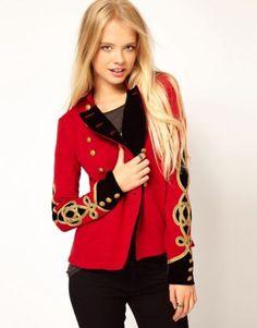 Ralph-Lauren-Denim-Supply-Women-Military-Army-Officer-Band-Jacket-Gold-Star-Red
