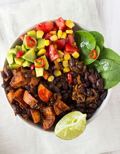 Vegan Black Beans + Sweet Potato Mexican Bowl
