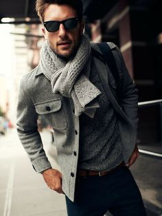 Men's Grey Pea Coat, Grey Scarf, Grey Crew-neck Sweater, Navy Chinos, and Brown Leather Belt