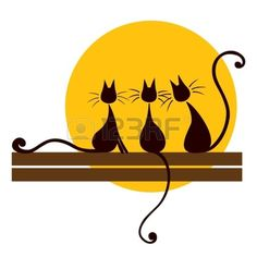 cat sitting Three black cats sitting on board and looking at sun Stock Vector - 16682729 Three Cats, Yellow Cat, Cat Silhouette, Sleepy Cat, Cat Sitting, Cat Drawing, Clipart, Rock Art, Painted Rocks