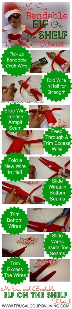 No Sew Bendable Elf on the Shelf Tutorial – Easy DIY Craft plus Daily Elf on the Shelf Ideas plus FREE Notes to Print for your Elf #elfontheshelf #elfontheshelfideas #DIY