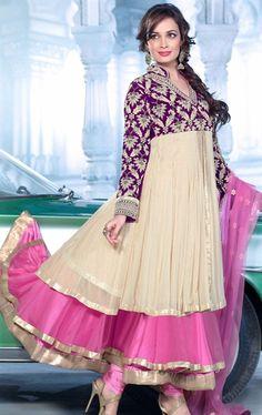 Tempting Pink and Cream Bollywood Salwar Kameez with Dupatta HSPDIY8009 - www.indianwardrobe.com