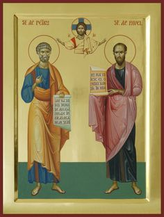 Religious Images, Religious Icons, Religious Art, Byzantine Art, Byzantine Icons, St Peter And Paul, Roman Church, Paint Icon, Russian Icons