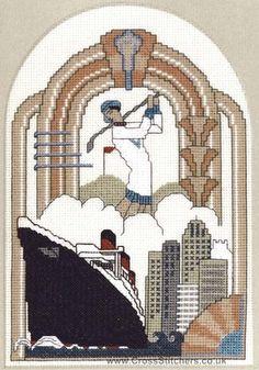 The Golfer Art Deco Cross Stitch Kit by Barbara Thompson