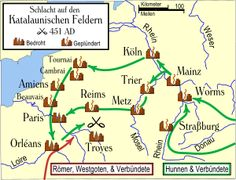 The Battle of the Catalaunian Plains (or Fields), also called the Battle of Châlons or the Battle of Maurica, took place in AD 451 between a coalition led by the Roman general Flavius Aetius and the Visigothic king Theodoric I against the Huns and their allies commanded by their leader Attila. It was one of the last major military operations of the Western Roman Empire, although Visigothic soldiers formed the core of the allied Roman army. The battle was a strategic victory for the Romans…