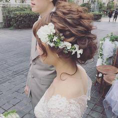 ブライダルヘアアレンジ☺️✨ ・ ・ ・ #ヘアアレンジ #ブライダルヘア #新婦様  #プレ花嫁 #ブライダル
