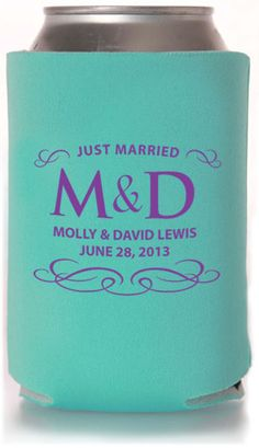 Wedding koozies double as a wedding favor gift- also available for wedding party with discription