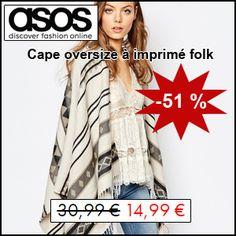 #missbonreduction; 51 % de remise sur la Cape oversize à imprimé folk chez ASOS. http://www.miss-bon-reduction.fr//details-bon-reduction-ASOS-i853209-c1827115.html