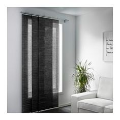 sliding panels from ikea for a sliding door. 6 Stylish Solutions to Replace Those Dreaded Vertical Blinds Ikea Panel Curtains, Curtains For Closet Doors, Sliding Door Curtains, Dark Curtains, Sliding Panels, Sliding Glass Door, Ikea Window Panels, Curtain Panels, Glass Doors