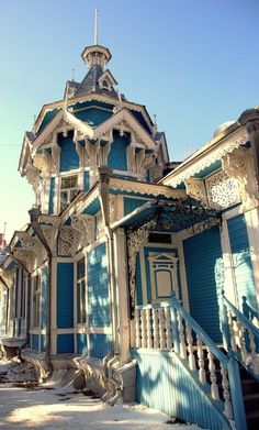 Victorian Home - Tomsk, Russia. One of the oldest towns in Siberia. Architecture Design, Russian Architecture, Victorian Architecture, Beautiful Architecture, Beautiful Buildings, Beautiful Homes, Beautiful Places, Wooden Architecture, Old Buildings