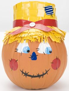 Scarecrow Duck Tape pumpkin http://duckbrand.com/products/duck-tape/colors/standard-rolls/yellow-188-in-x-15-yd?utm_campaign=dt-crafts&utm_medium=social&utm_source=pinterest.com&utm_content=duct-tape-crafts-fall