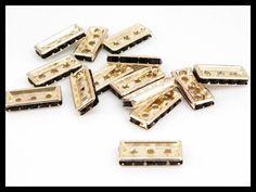 """RO00001 Rondel en chapa de oro 14k. Triple orificio forma rectangular color negro, ideal para armar bisutería fina,  precio x pieza $3.40 pesos, precio medio mayoreo $3.10, precio mayoreo $280""""""""""""""""""""""""""""""""""""precio VIP $2.50"""""""""""""""""""""""""""""""""""""""