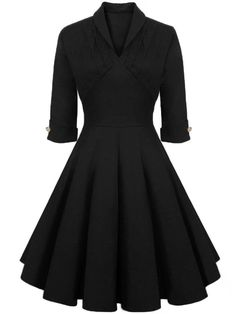 Fashionmia - Fashionmia Graceful Shawl Collar Decorative Button Solid Skater Dress - AdoreWe.com