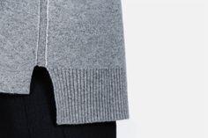 Proenza Schouler — Double Face Cashmere Ls Step Hem Crewneck Sweater Grey Melange — THE LINE