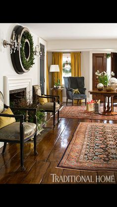 Traditional living room, wide plank wood floors, layered rugs, a hays town inspired, southern sophistication,