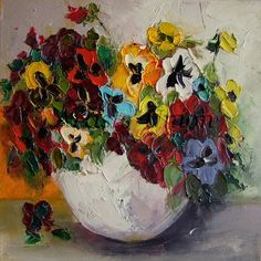 Colorful Pansies Impasto Original Oil Painting by ArtistsUnion