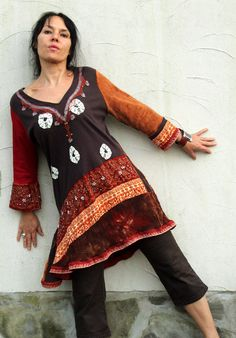 Fantasy Fall choccolate colors dress tunic. Embroidered and beaded.Made from recycled clothing. reused, remade and upcycled. Thno afro folk style.