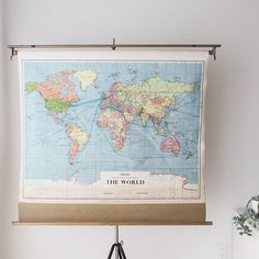Hanging map diy hanger tutorials and crafty large vintage pull down school map world map by ohalbatross gumiabroncs Images