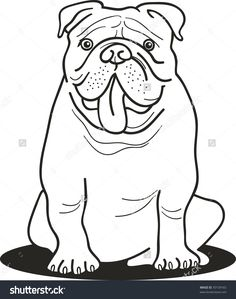 stock vector illustration of bulldog for coloring book - Bulldog Coloring Pages