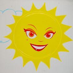 Cartoon sun wall drawing Cartoon Sun, Person Cartoon, Cartoon Wall, Drawing Designs, Designs To Draw, Wall Drawing, Tweety, Doodles, Inspire