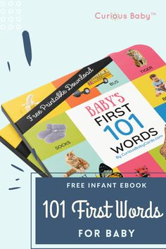 """Imitation and repetition are key ingredients in early brain development. When baby hears the same words often enough, she will eventually begin to make recognizable noises, including ones like """"ma-ma"""" and """"da-da"""". Help promote your little one's cognitive development and download this free ebook with 101 First Words.#infantfreeebook #babyguide #languageforbaby #babytips #infanttips #babylanguageskills #infantbooks #babybook #babydevelopment #momtips #guideformom #infantlanguagebook"""