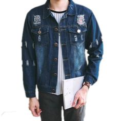 A.BLISS 2017 new holes Denim Jacket Men Fashion brand clothing distressed Jeans Jackets Male Spring Autumn Casual Clothing