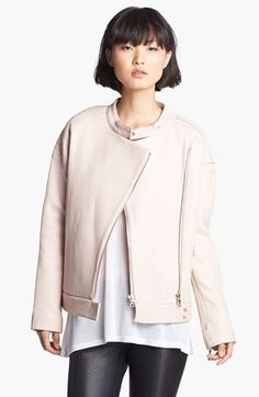 J Brand Ready-to-Wear 'Dorothy' Pebble Leather Moto Jacket available at #Nordstrom