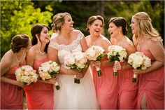 signature of solon wedding bridesmaids coral bridesmaid dresses bridal party poses wedding poses bridal party ideas photography Coral Bridesmaid Dresses, Wedding Bridesmaids, Bridal Dresses, Bridal Party Poses, Wedding Poses, Party Ideas, Photography, Fashion, Bride Gowns