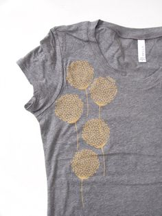 women's tshirt - golden flowers - screen printed by hand - 100% Cotton deep gray heather tshirt