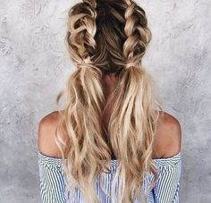 Double bubble braided hair shared by ѕαмαηтнα ѕєяєηα ✰