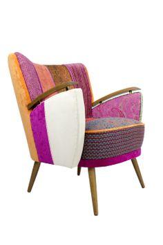 #patchwork armchair pink orange chair patchwork modern design retro furniture handmade boho style https://www.etsy.com/shop/lasilladesign