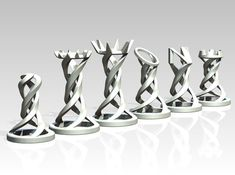 Check out Helix Chess Full Set by Mathavious on Shapeways and discover more printed products in Board Games. 3d Printing Diy, 3d Printing Service, Chess Pieces, Game Pieces, 3d Chess, Chess Sets, 3d Modellierung, Chess Set Unique, 3d Printed Objects