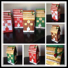 Casitas Decorativas con diseños navideños, con caja de leche o tetrapack, quedarian genial debajo del arbol o en cualquier lugar de casa para esas fiestas .../DIY by Luz Arias.