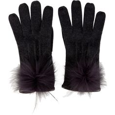 Pre-owned Loro Piana Fox Fur Trimmed Cashmere Gloves ($325) ❤ liked on Polyvore featuring accessories, gloves, black, black cashmere gloves, pom pom gloves, loro piana, cashmere gloves and black gloves