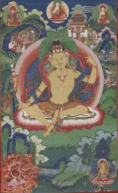 The Dragon's Gift: The Sacred Arts of Bhutan Guru Nyima Ozer late 1800s Bhutan Ink and mineral colors on cotton Lent by Do Khachu Monastery, Chukka. Photo by Shuzo Uemoto/Honolulu Academy of Arts