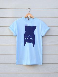 Blue Ninja Cat Tee, By Ben Prints On Etsy