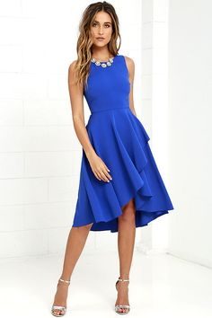 Seize every opportunity to shimmy and shake in the Chance to Dance Royal Blue High-Low Dress! Textured woven poly forms a sleeveless, darted bodice atop a fluttering wrap skirt that falls to a high-low hem. Hidden back zipper/hook clasp.