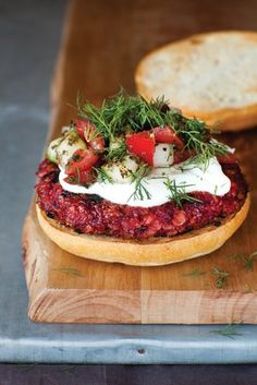 Sweet and Smoky Beet Burgers by Louisa Shafia via doctorsreview: Delicious with yogurt, a fragrant mound of dill, and a tomato and cucumber salad on the side. The burger mixture can be made a day ahead and stored in the refrigerator. #Burgers #Beet #Veggie #Healthy