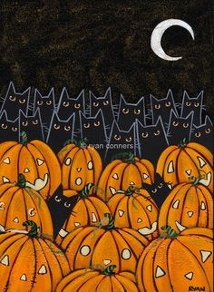 Black Cats and Jack O Lanterns Original Halloween Folk Art Painting by KilkennycatArt on Etsy