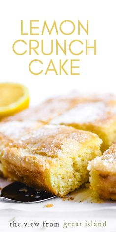 Bright lemon flavor + CRUNCH is a match made in heaven in this pillowy soft lemon snack cake! This easy old fashioned lemon dessert (eat it for breakfast, too) is a joy.
