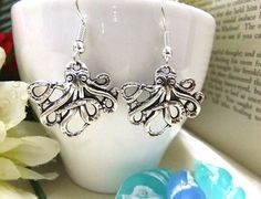 Silver Octopus Earrings Nautical Earrings by BeadSparkleZ on Etsy